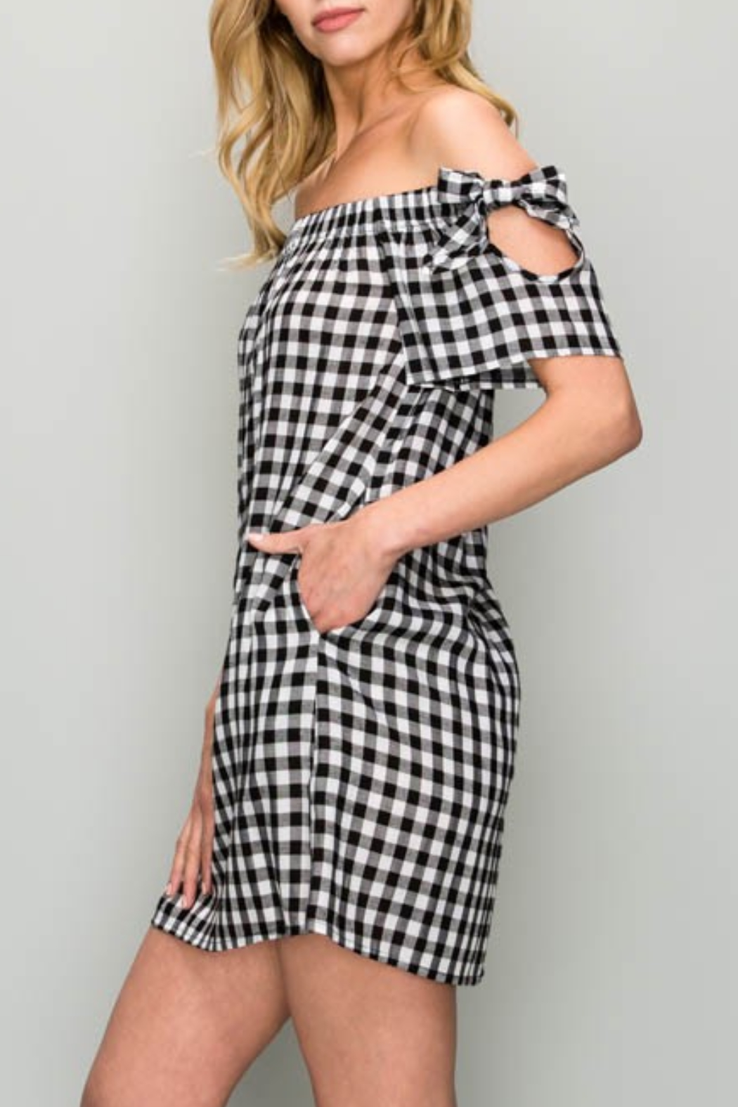 AAKAA OTS Gingham Dress - Front Full Image