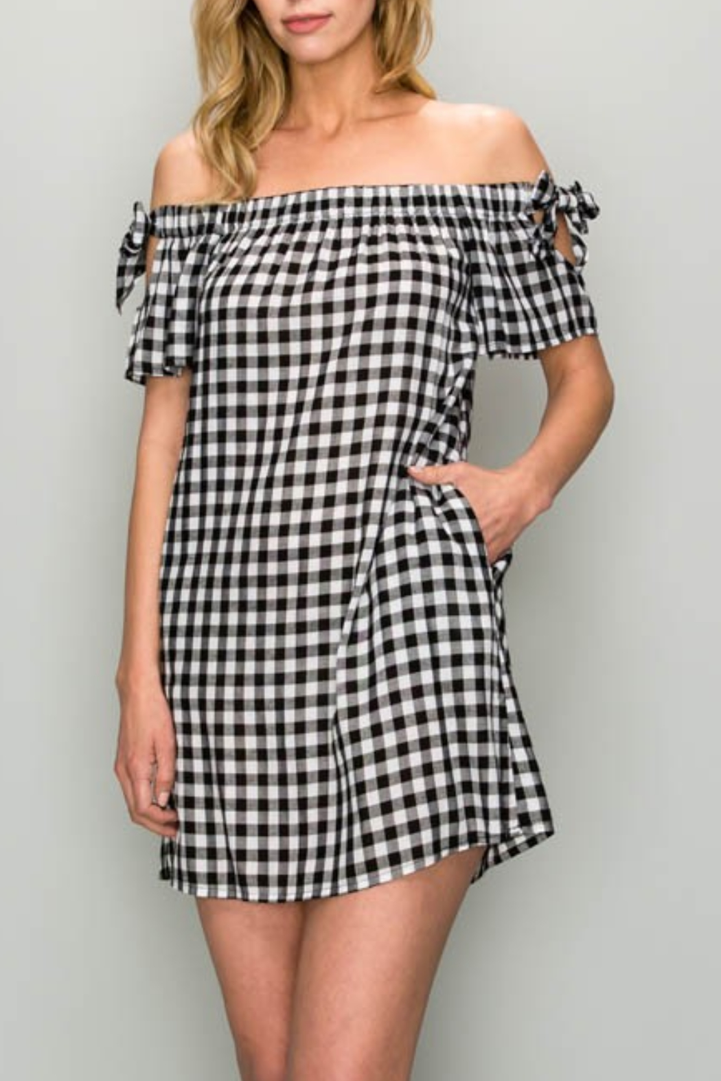 AAKAA OTS Gingham Dress - Front Cropped Image