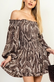 Olivaceous OTS Printed Dress - Product Mini Image