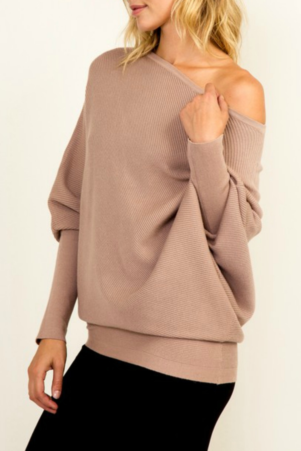Olivaceous OTS Ribbed Sweater - Front Full Image