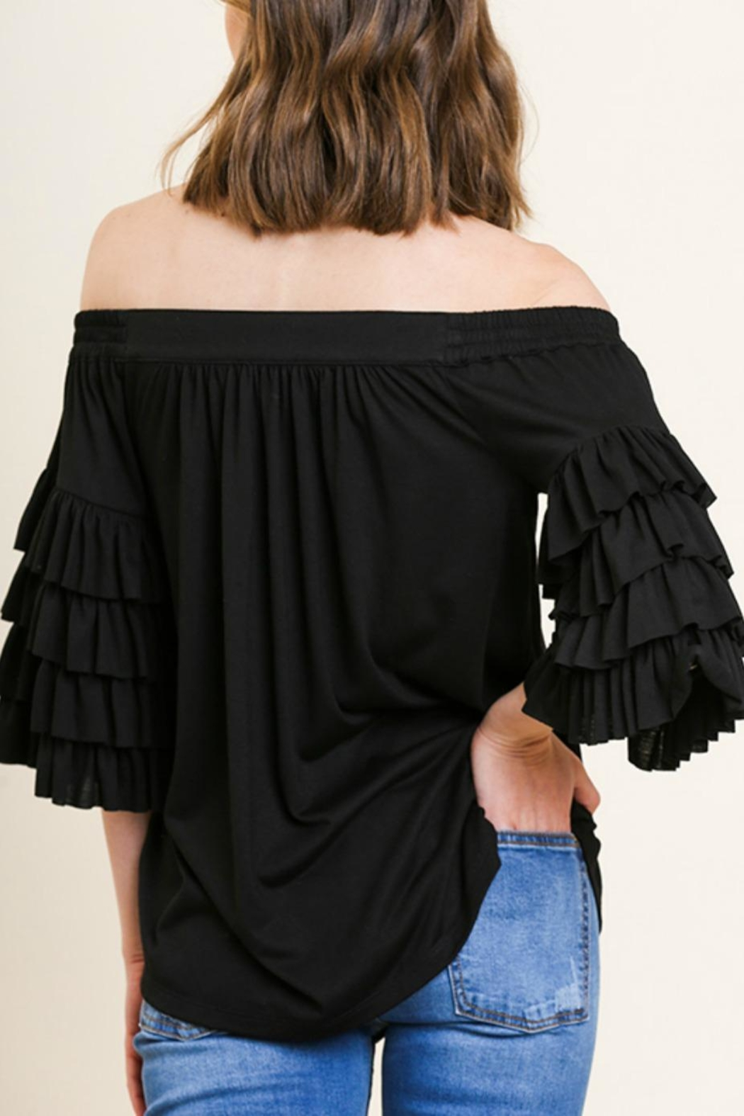 Umgee USA Ots Ruffle-Sleeve Top - Side Cropped Image