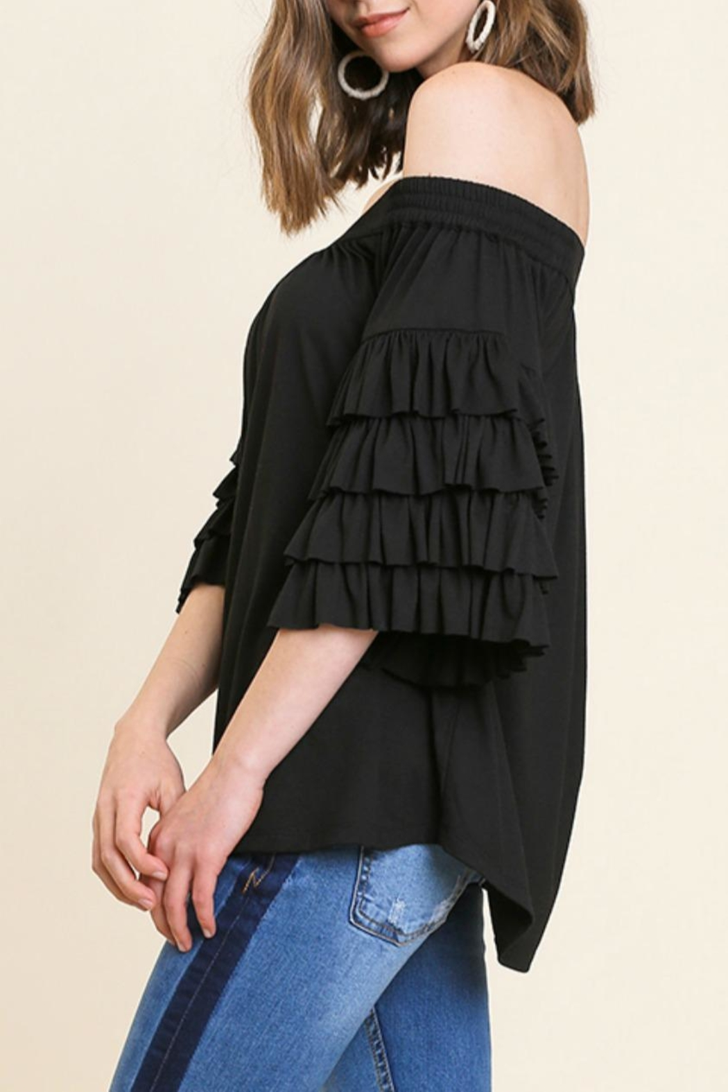 Umgee USA Ots Ruffle-Sleeve Top - Front Full Image