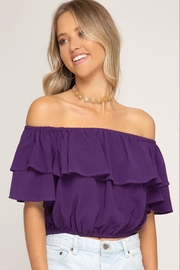She + Sky OTS Ruffle Top - Front cropped