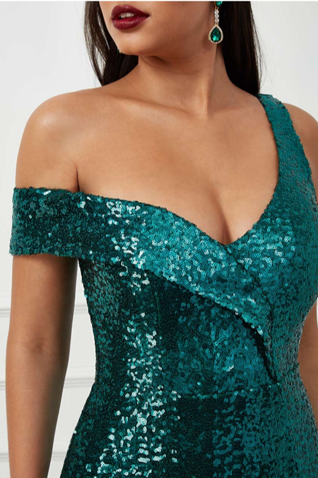 City Goddess  OTS Sequin Gown - Side Cropped Image