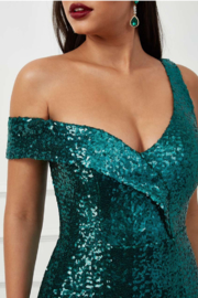 City Goddess  OTS Sequin Gown - Side cropped