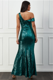City Goddess  OTS Sequin Gown - Front full body