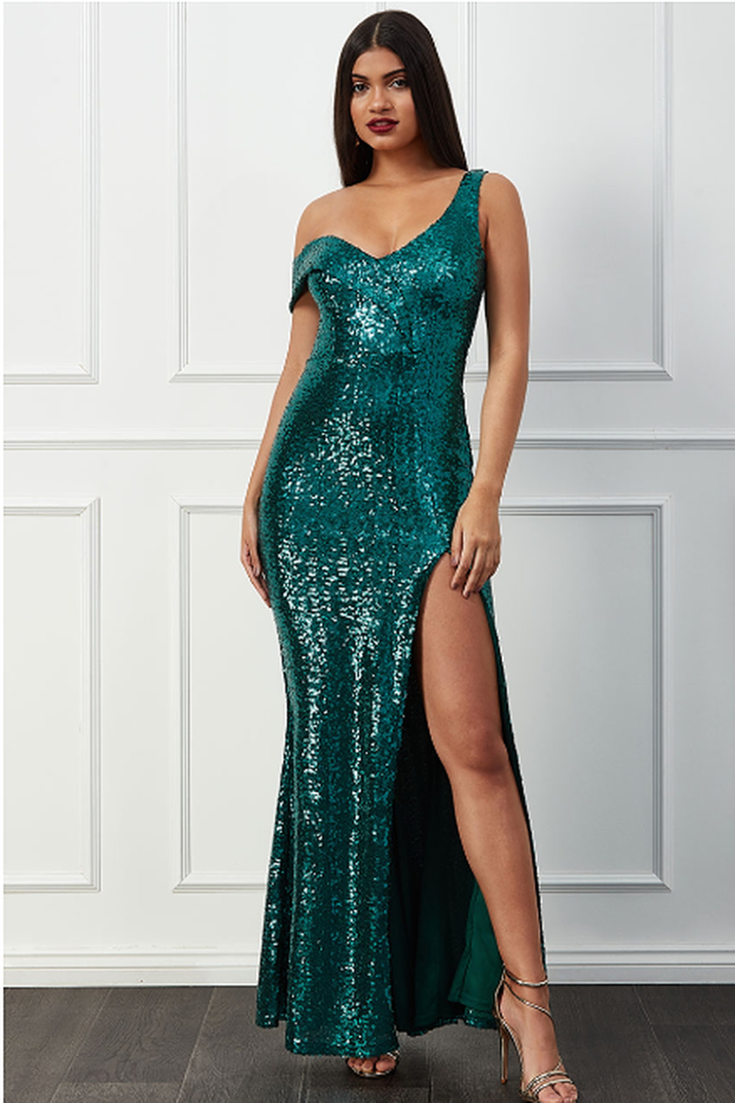 City Goddess  OTS Sequin Gown - Front Cropped Image