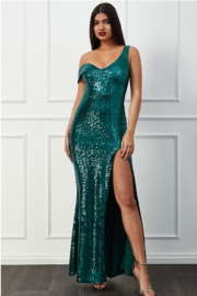 City Goddess  OTS Sequin Gown - Front cropped