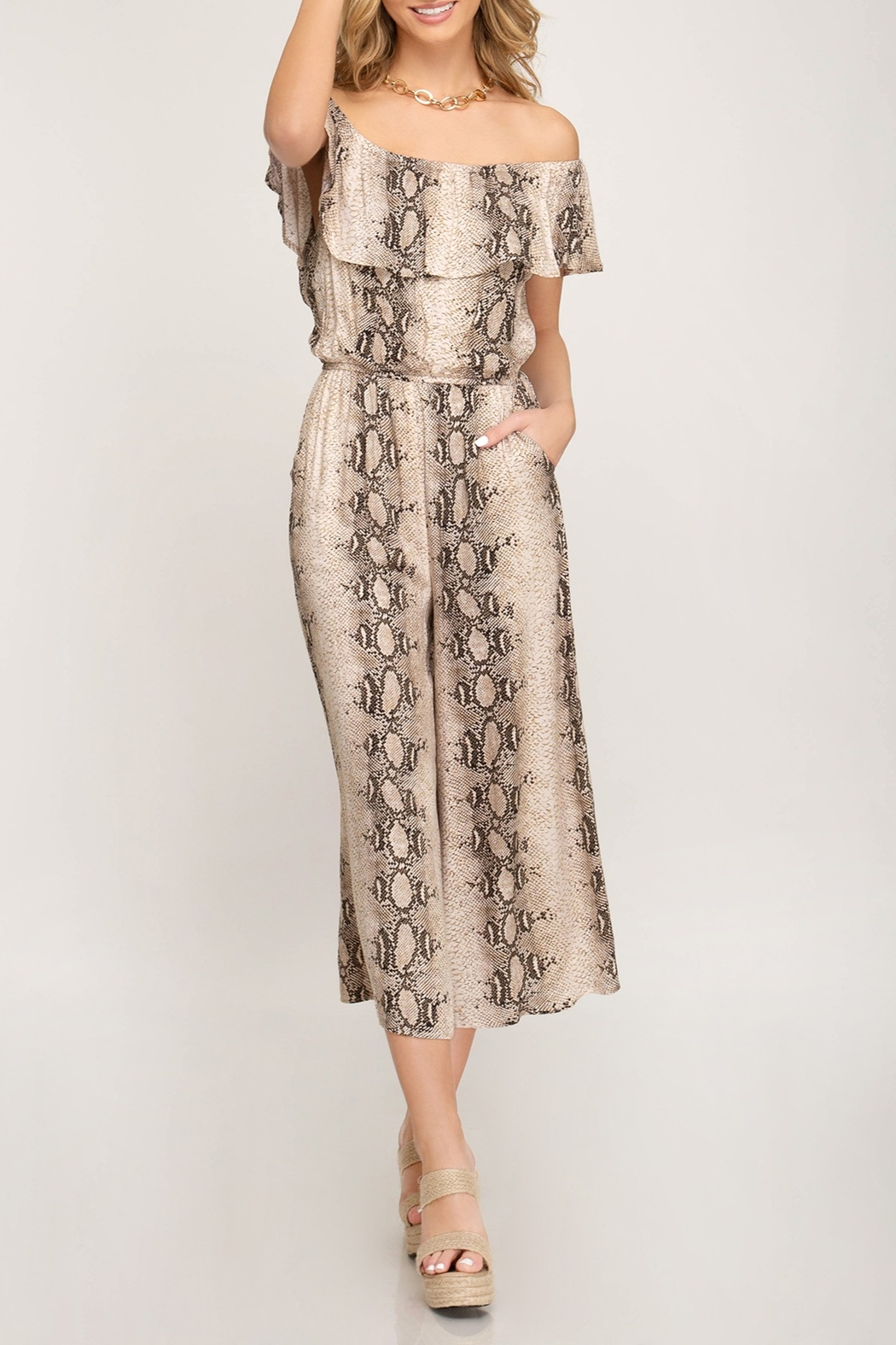 She & Sky  OTS Snake Print Jumpsuit - Front Cropped Image