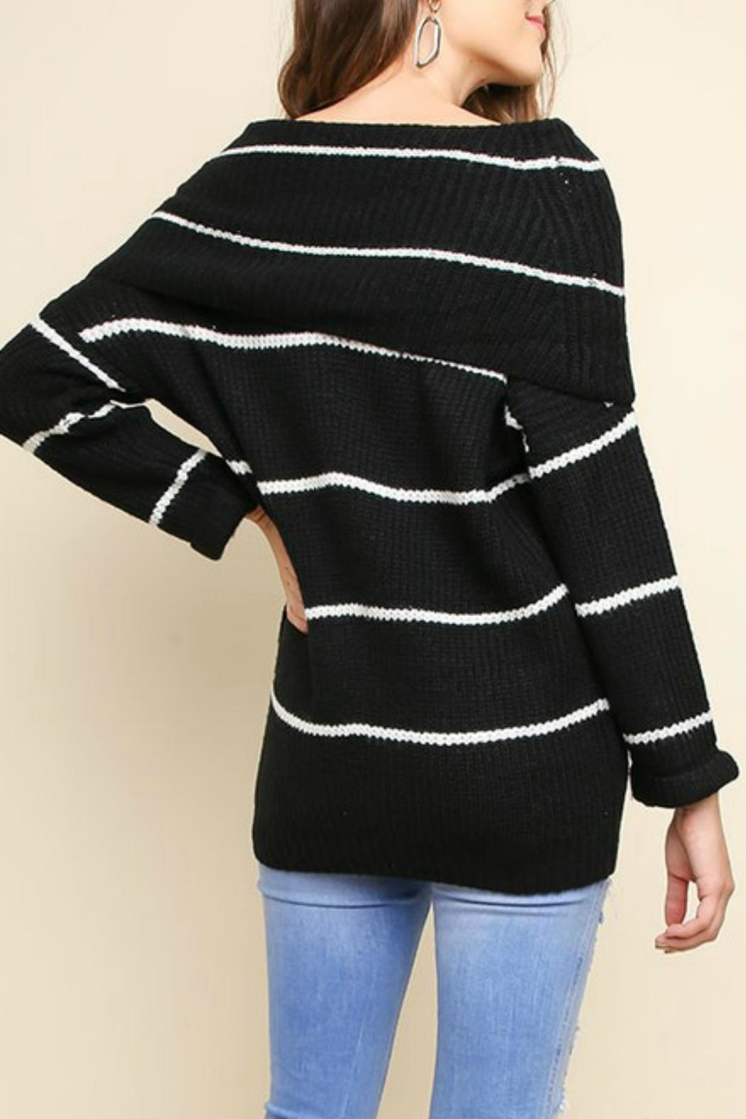 Pretty Little Things Ots Stripe Sweater - Front Cropped Image