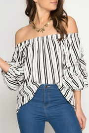 She + Sky Ots Stripe Top - Product Mini Image