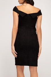 She + Sky OTS Suede Dress - Front full body