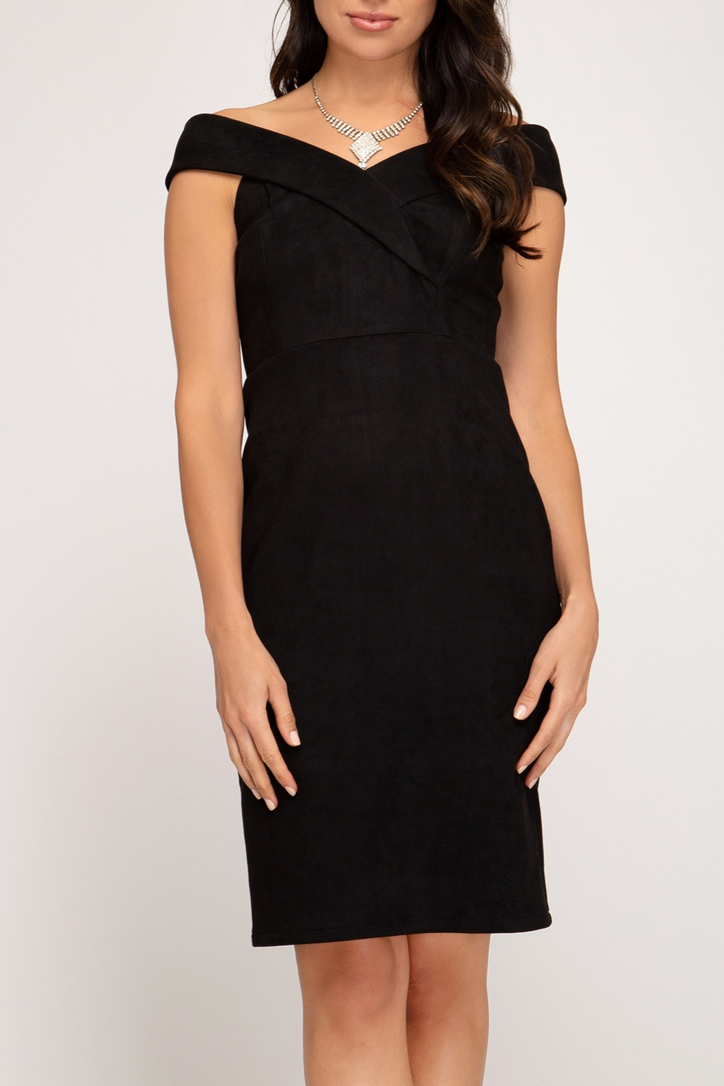 She + Sky OTS Suede Dress - Front Cropped Image