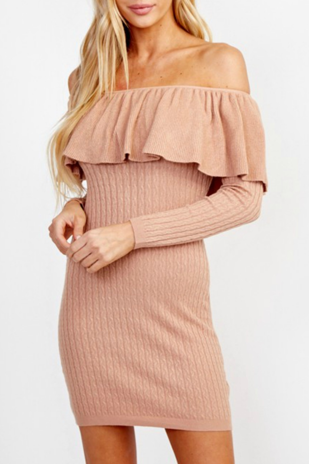 Olivaceous OTS Sweater Dress - Front Cropped Image