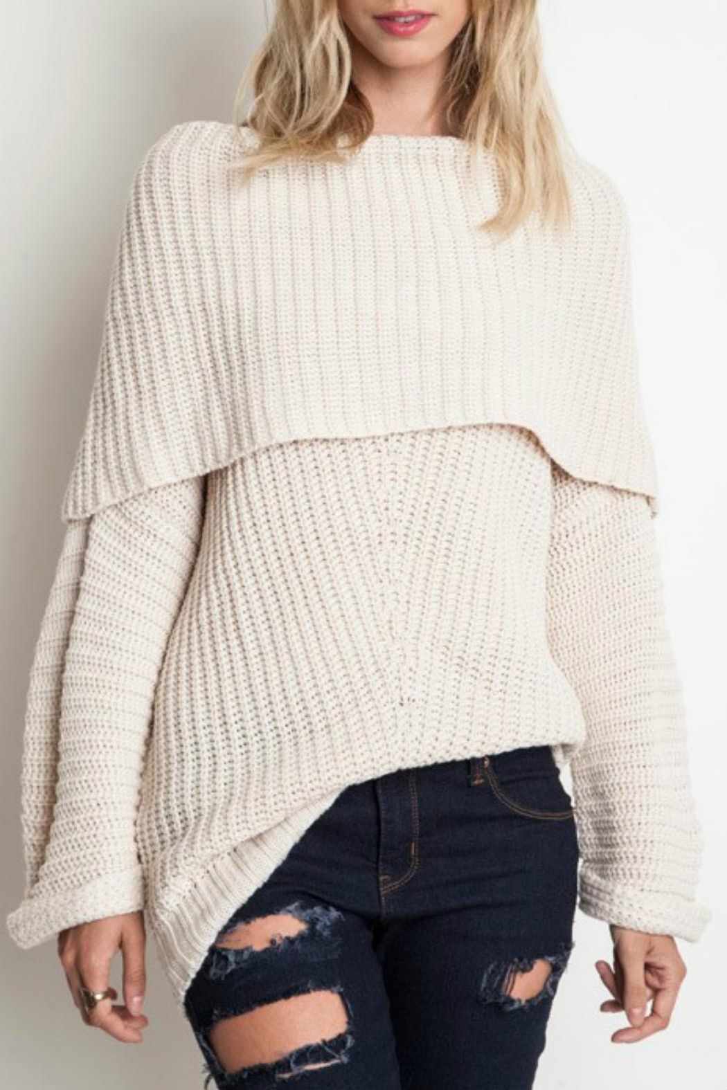 Pretty Little Things Ots Sweater - Front Cropped Image