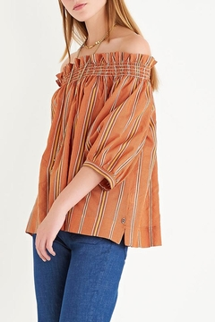 Shoptiques Product: Orange Striped Peasant Shirt