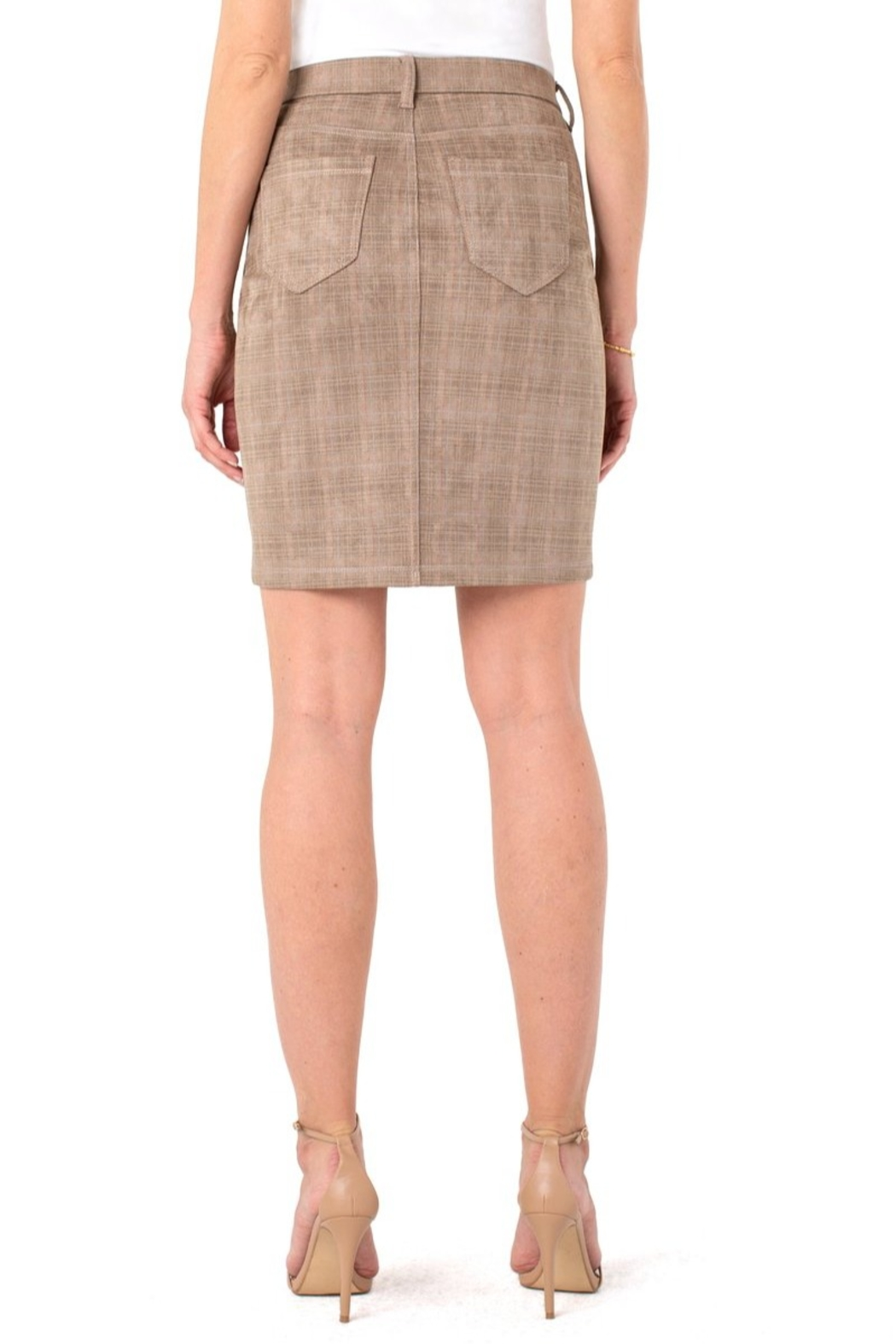 Liverpool  Our faux suede Gia Glider skirt - Front Full Image