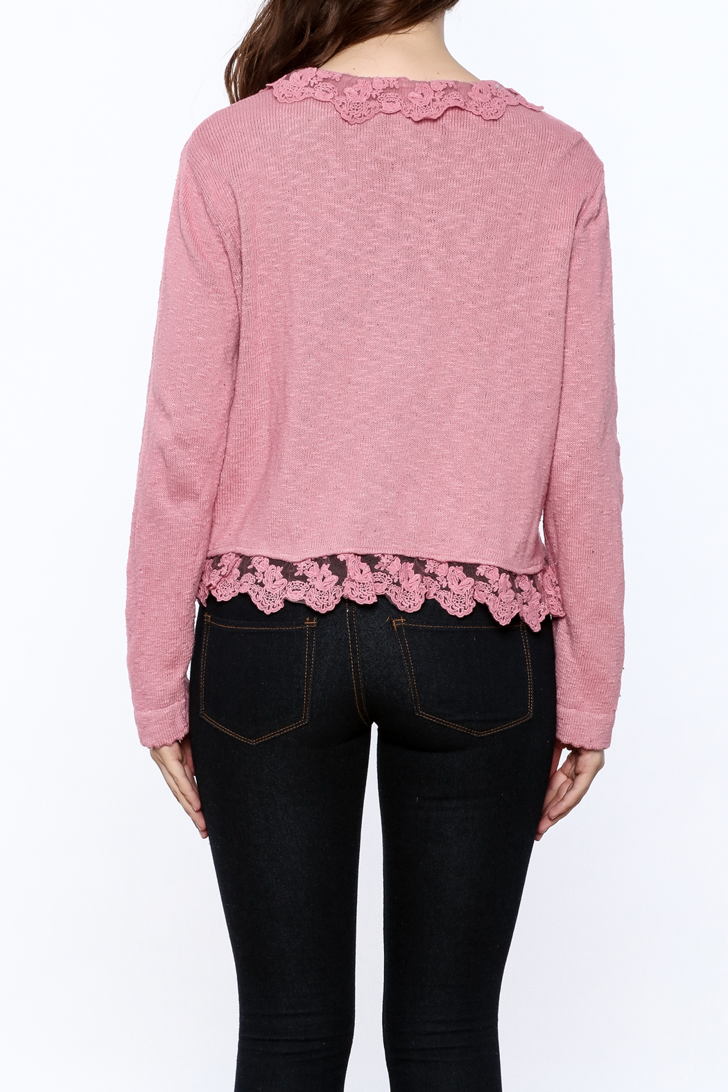 Out Of Xile Pinky Lacey Sweater - Back Cropped Image