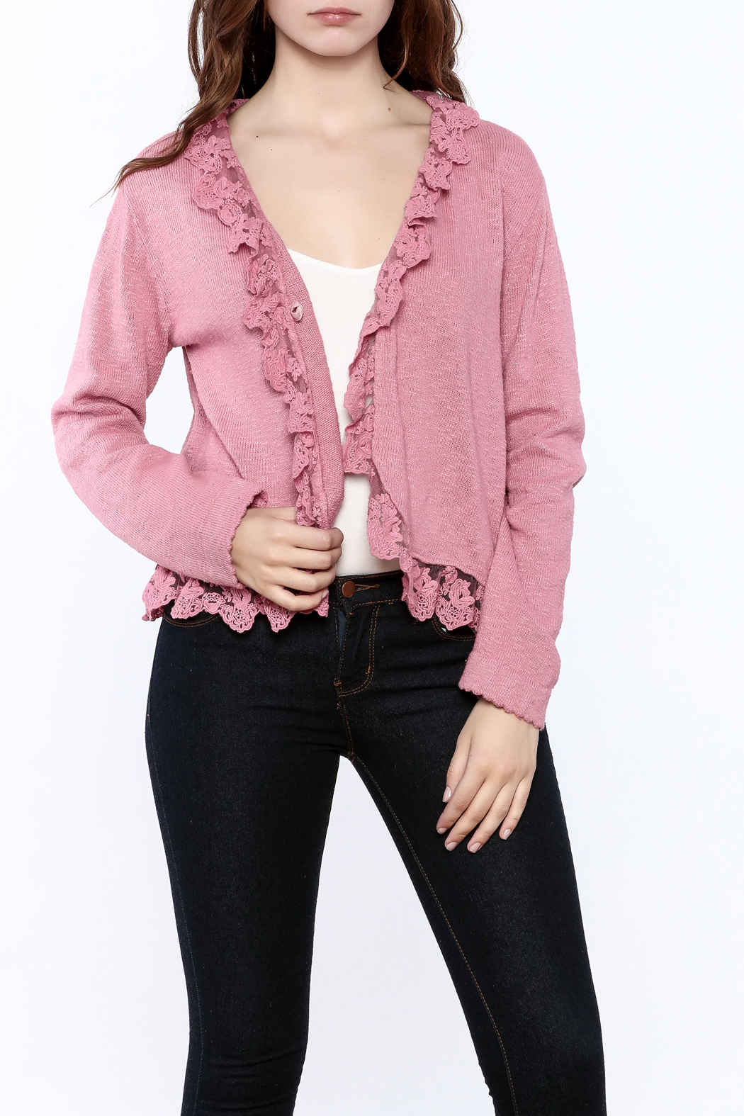 Out Of Xile Pinky Lacey Sweater - Main Image