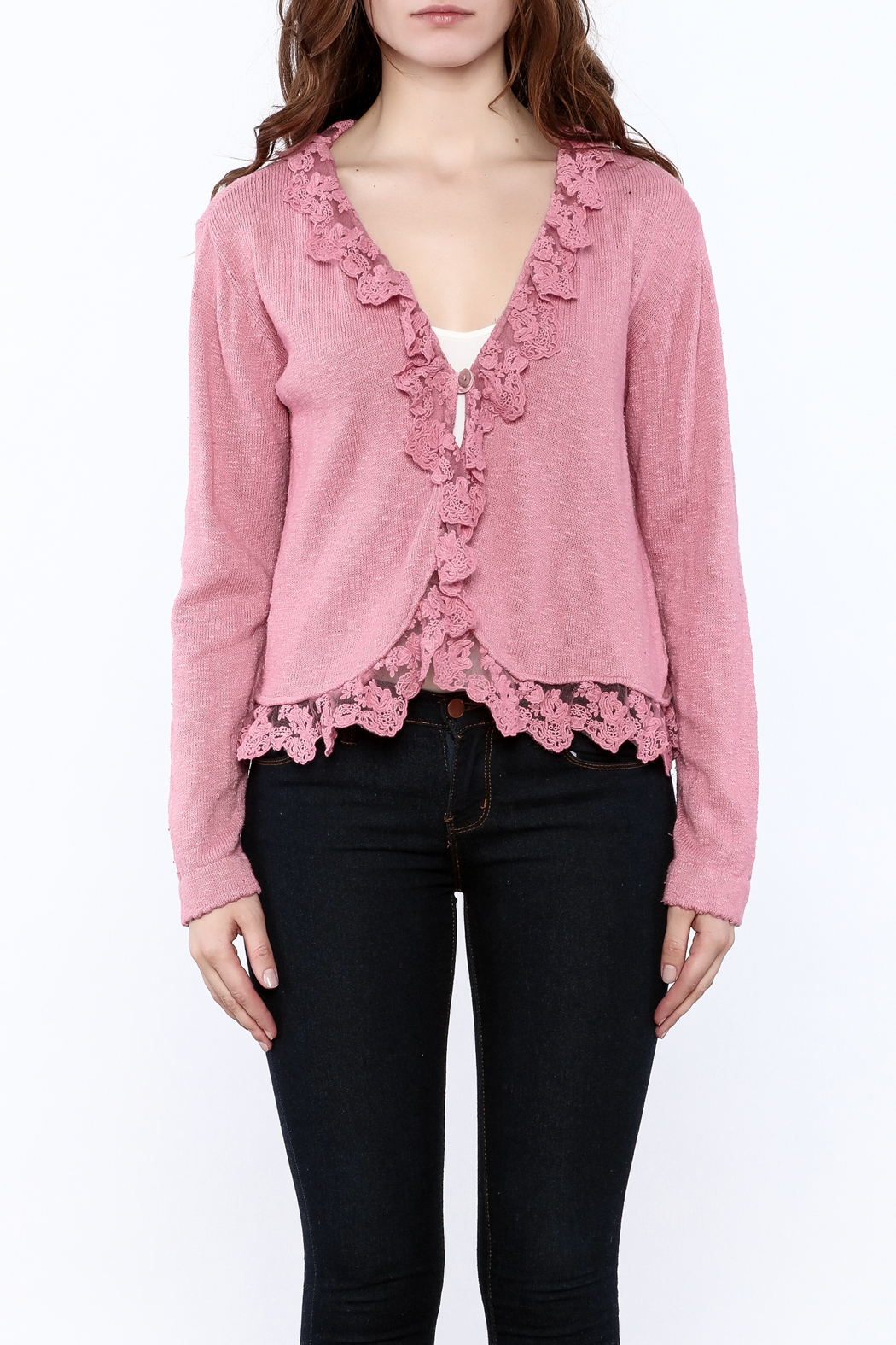 Out Of Xile Pinky Lacey Sweater - Side Cropped Image