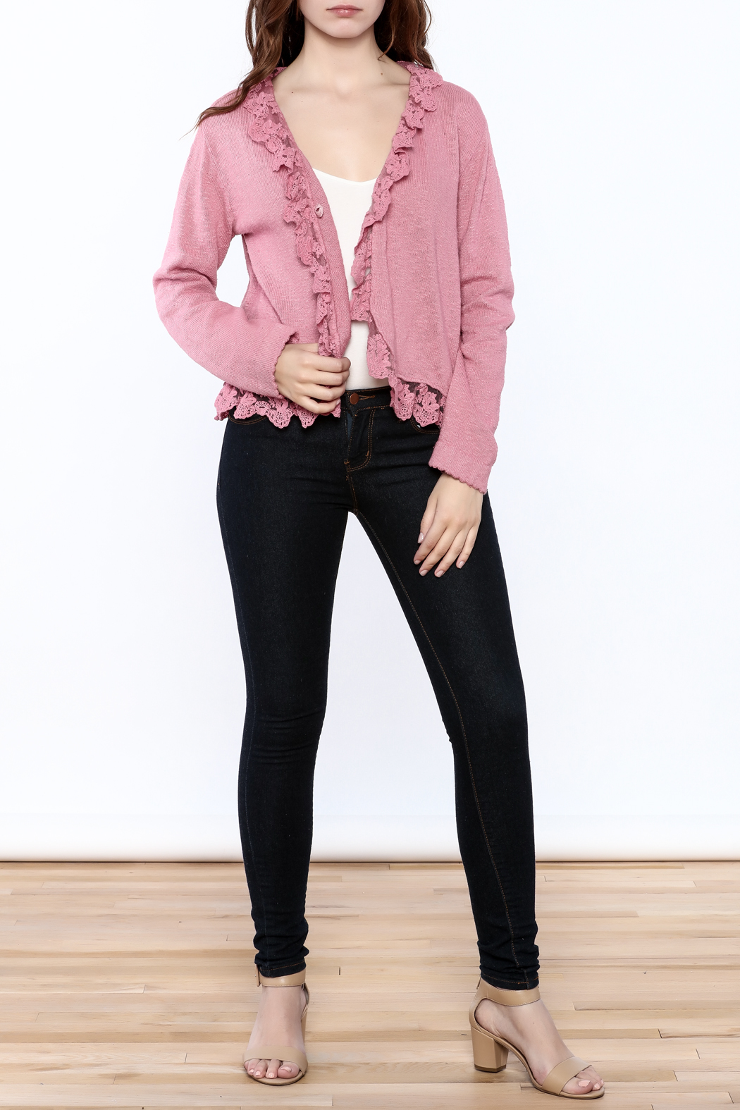 Out Of Xile Pinky Lacey Sweater - Front Full Image