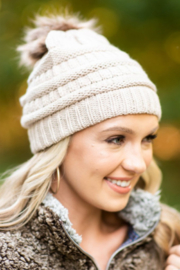 The Emerald Fox Boutique Outdoor Cable Knit Beanie with Pompom - Product Mini Image