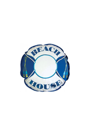 RIGHT SIDE DESIGN Outdoor Shaped Beach House Life Preserver Pillow - Front cropped