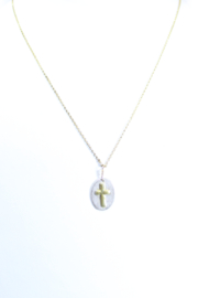 The Birds Nest OVAL CROSS NECKLACE - 9 INCH CHAIN - Product Mini Image