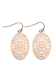 Riah Fashion Oval-Filigree Drop Earrings - Product Mini Image