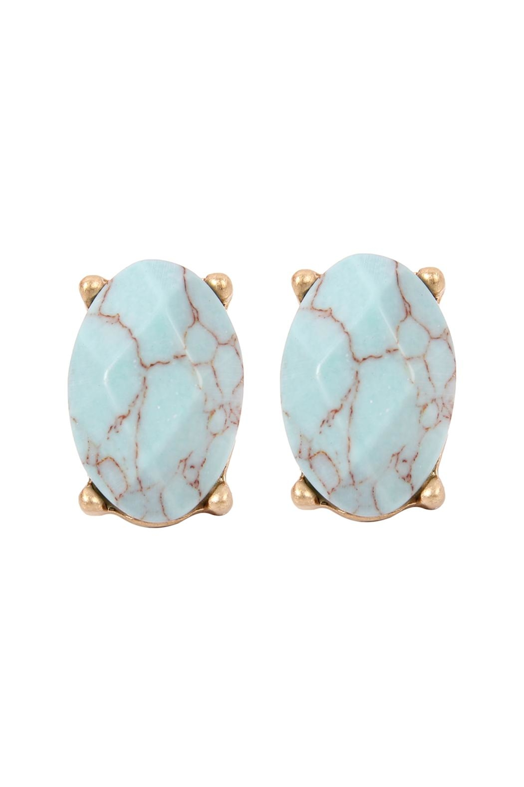 Riah Fashion Oval-Gem Cut Earrings - Front Cropped Image