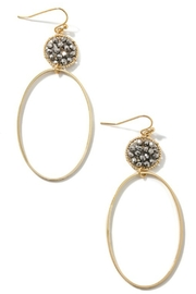 Fame Accessories Oval Hoop Drop Earrings - Product Mini Image
