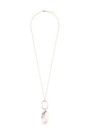 Riah Fashion Oval-Pendant Natural Stone-Necklace - Product Mini Image