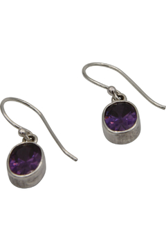 Accara Silver Oval Stone Drop Earrings - Alternate List Image