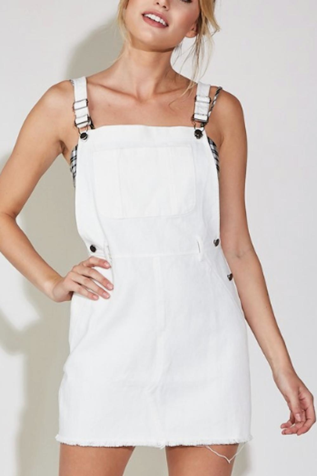 blue blush Overall Denim Dress - Main Image