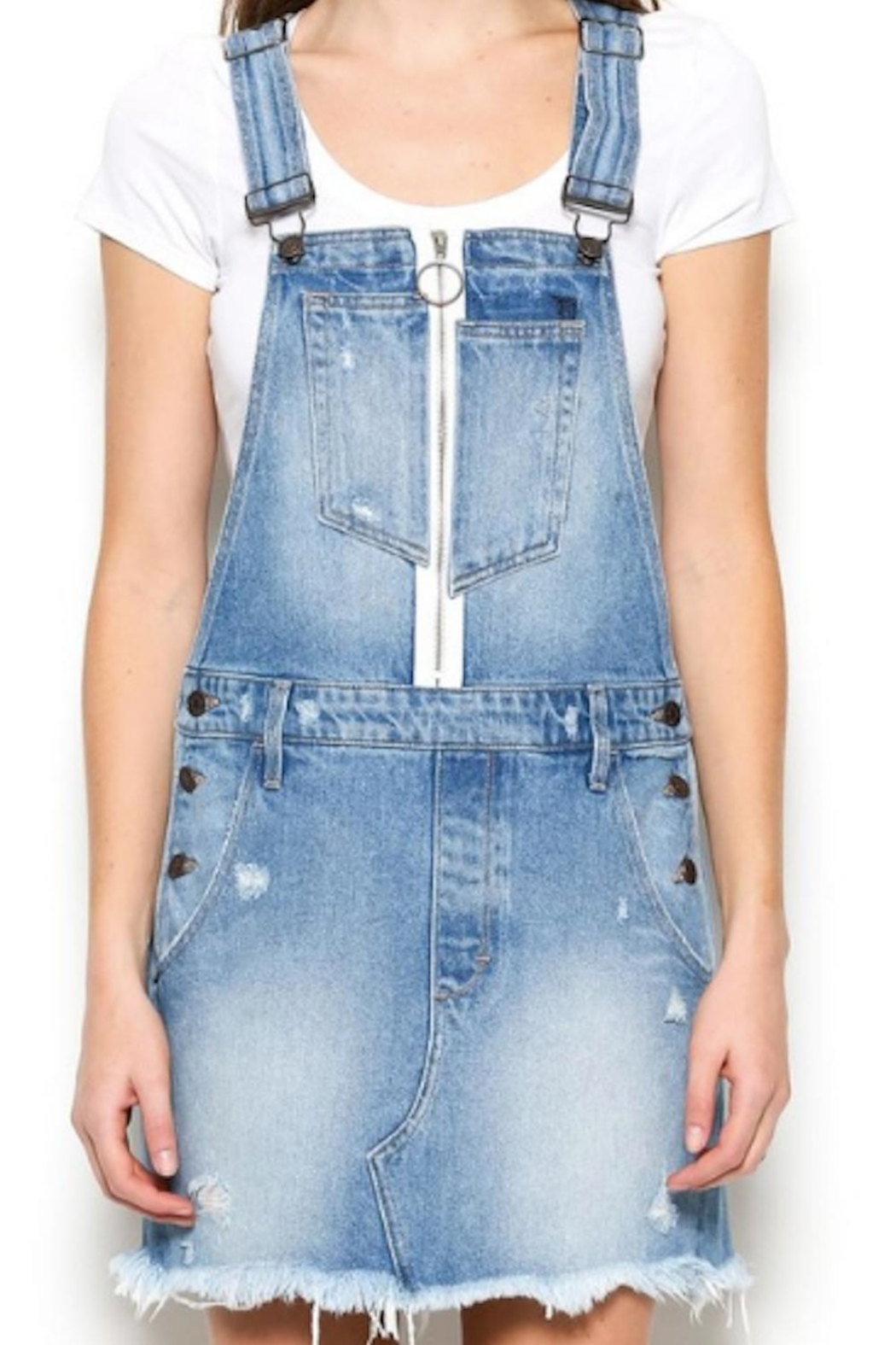 Hidden Jeans Overall Denim Skirt - Front Cropped Image