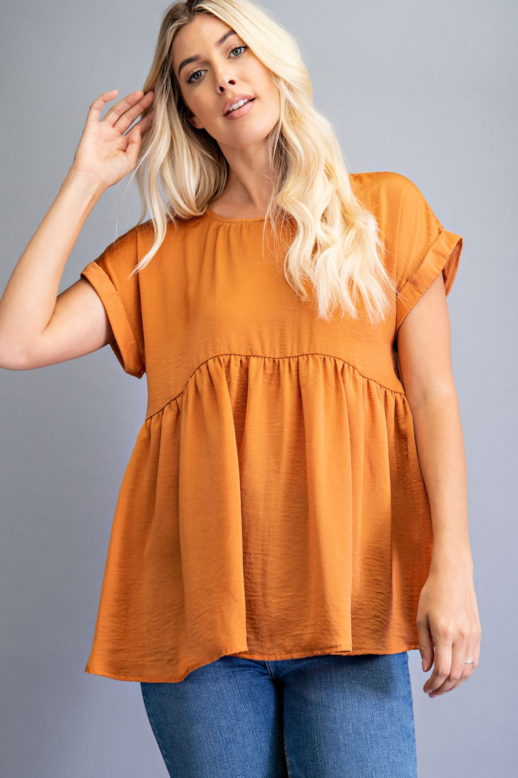 Glam Oversized Babydoll Top - Front Full Image