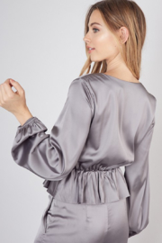 Do & Be Oversized Button Closure Blouse - Front full body