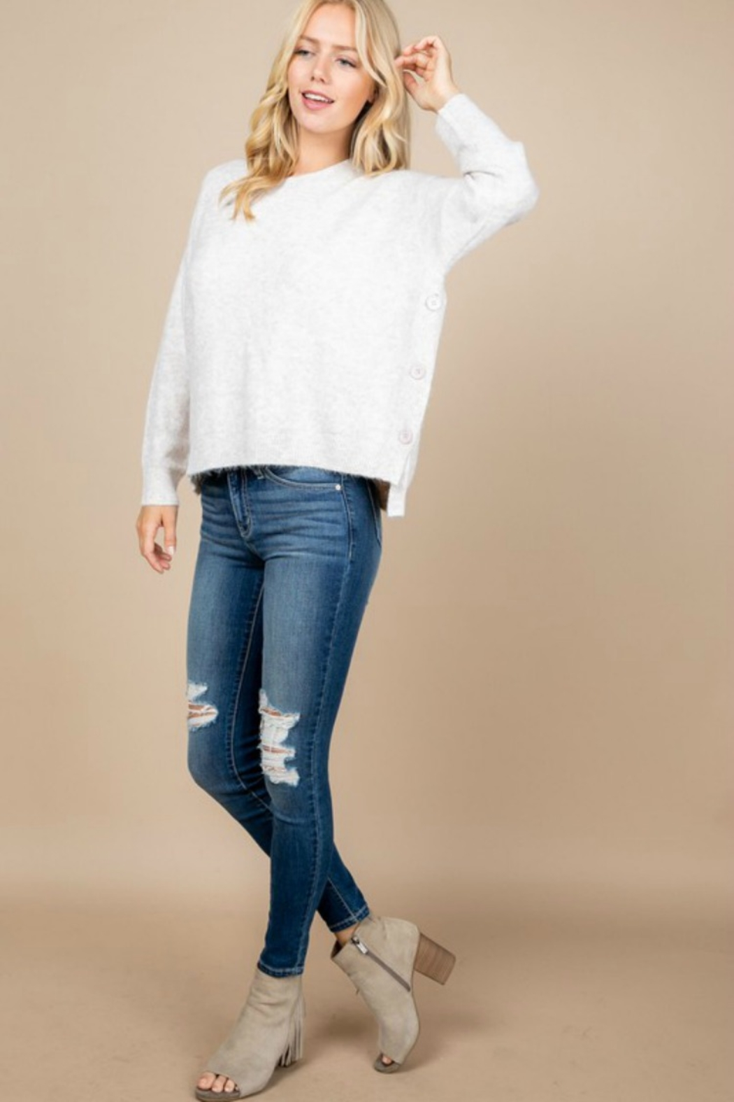 Paper Crane OVERSIZED BUTTON DETAIL SWEATER - Main Image
