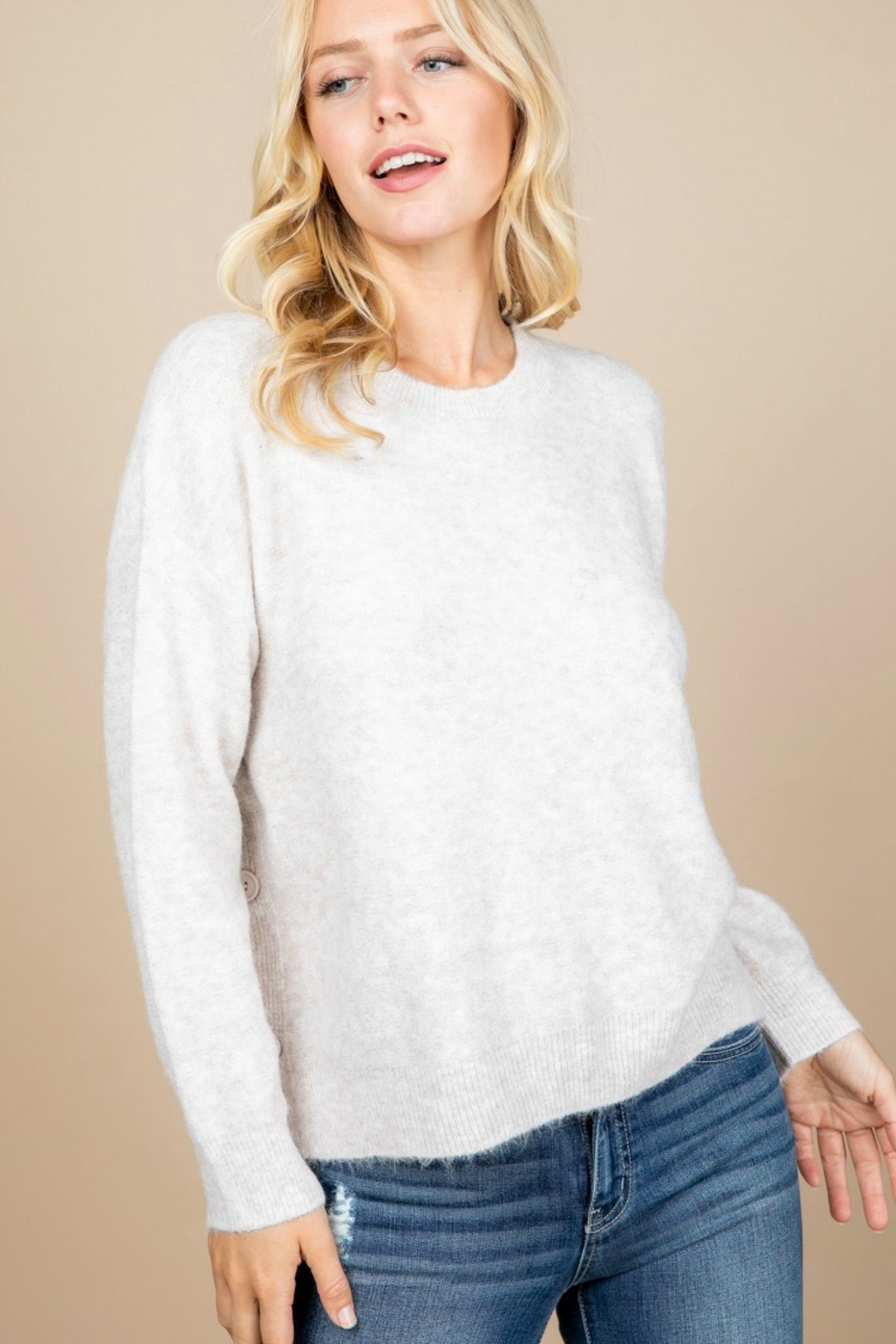 Paper Crane OVERSIZED BUTTON DETAIL SWEATER - Side Cropped Image