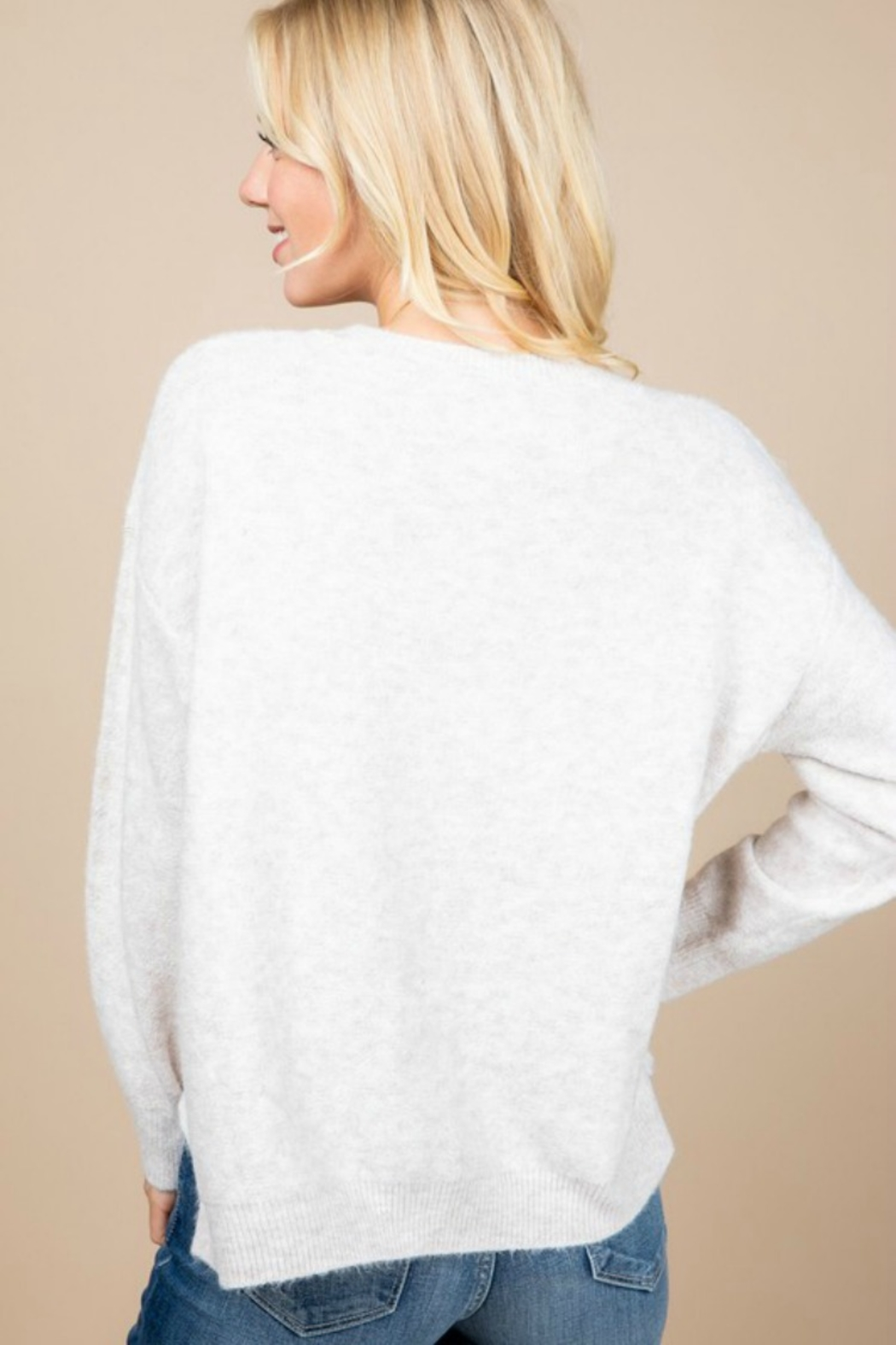 Paper Crane OVERSIZED BUTTON DETAIL SWEATER - Back Cropped Image
