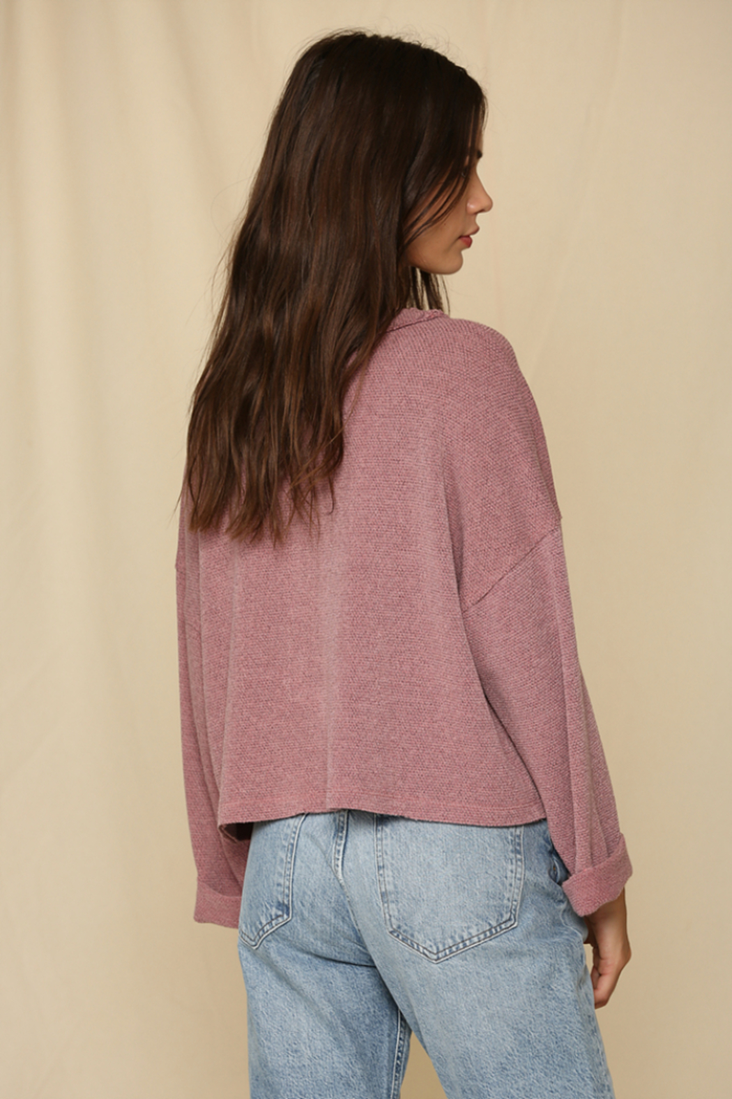 By Together Oversized Button Down Knit Top - Front Full Image