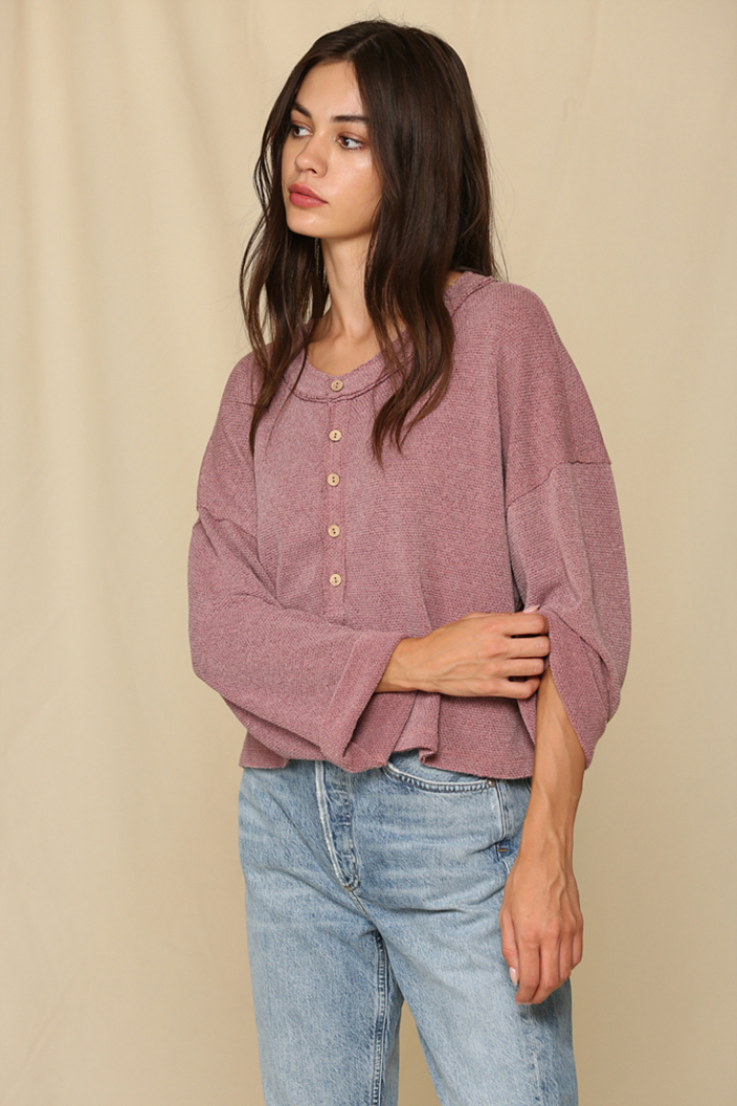 By Together Oversized Button Down Knit Top - Main Image