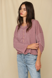 By Together Oversized Button Down Knit Top - Product Mini Image