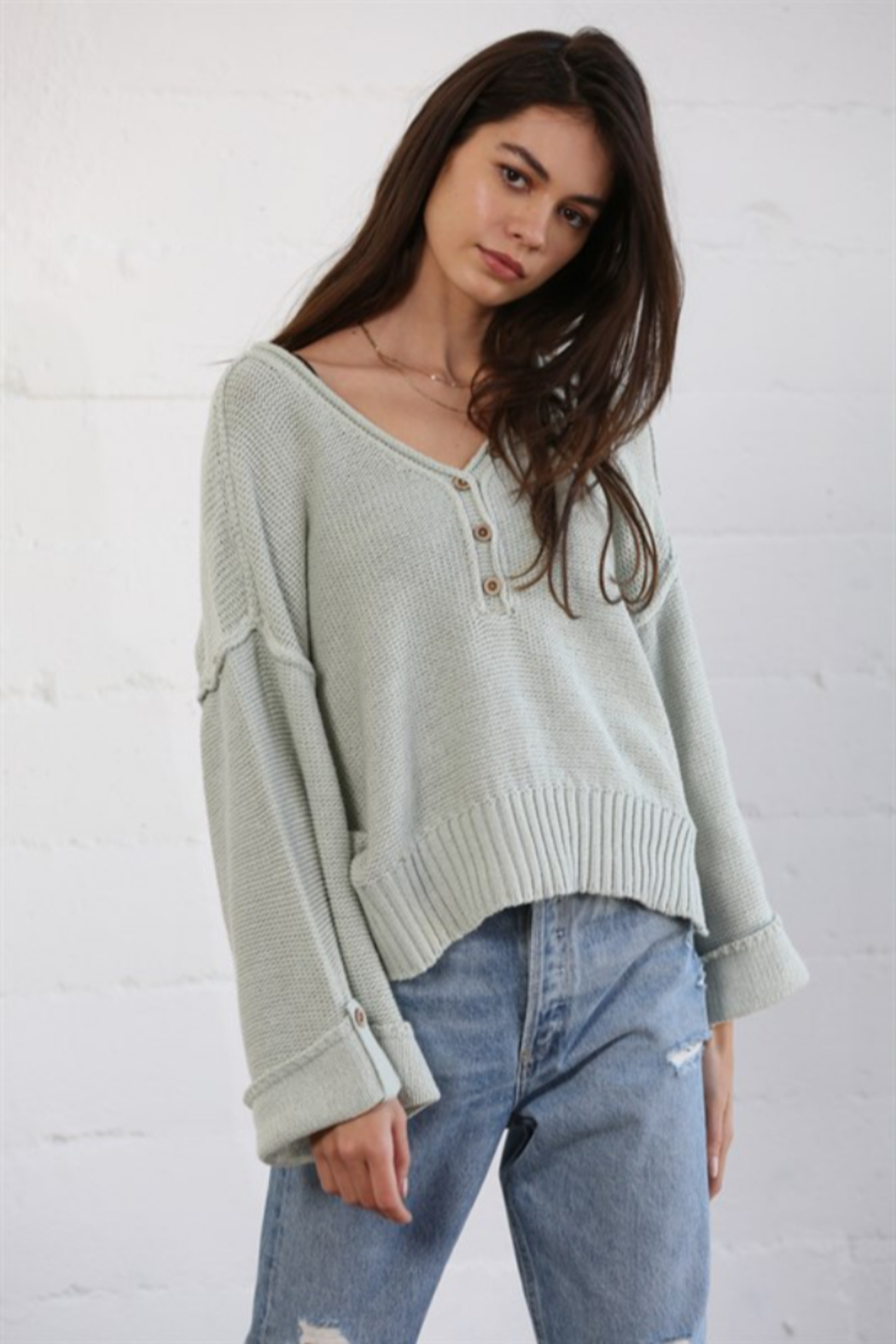 By Together Oversized Button Down Sweater - Main Image