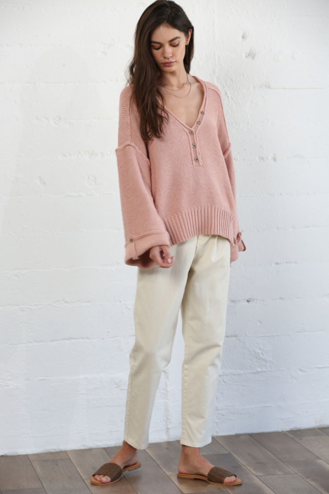 By Together Oversized Button Down Sweater - Front Cropped Image
