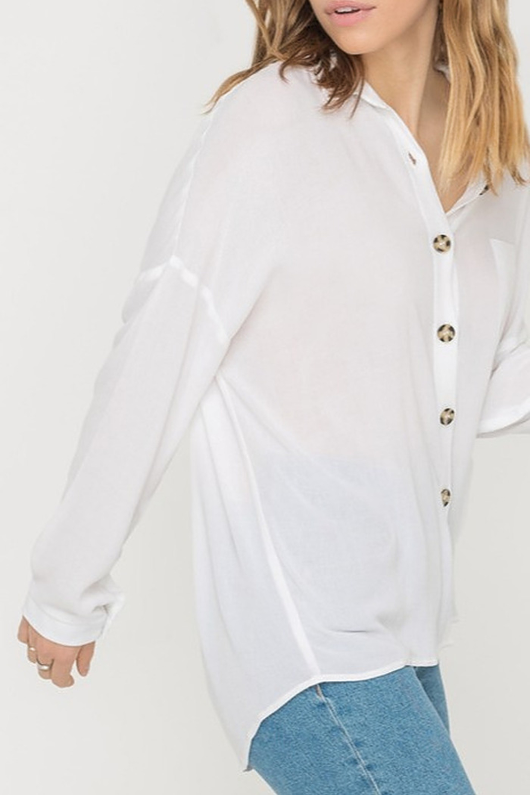 All In Favor Oversized Buttoned Tunic Blouse - Front Full Image
