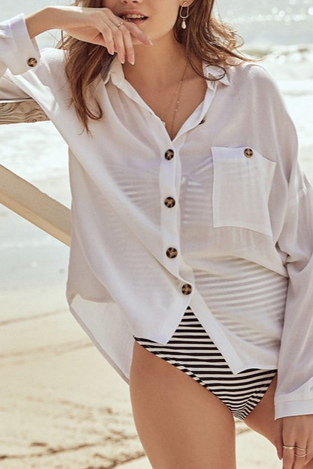 All In Favor Oversized Buttoned Tunic Blouse - Back Cropped Image