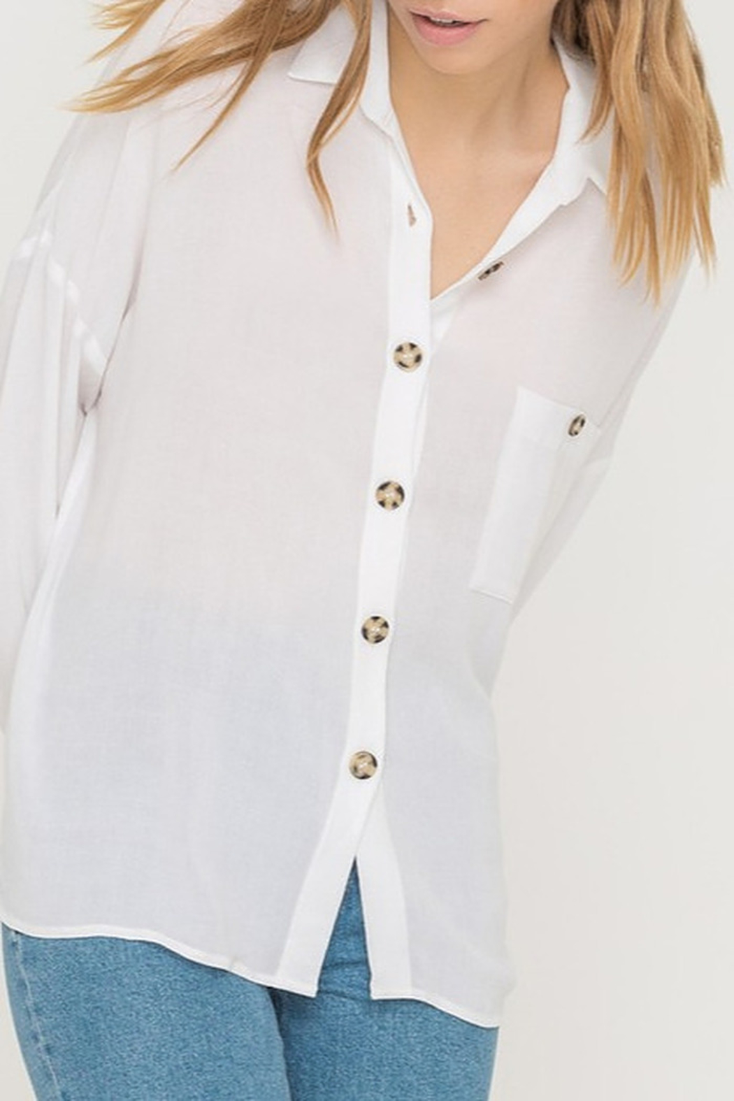 All In Favor Oversized Buttoned Tunic Blouse - Main Image