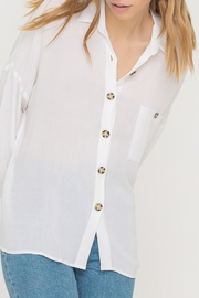 All In Favor Oversized Buttoned Tunic Blouse - Front cropped