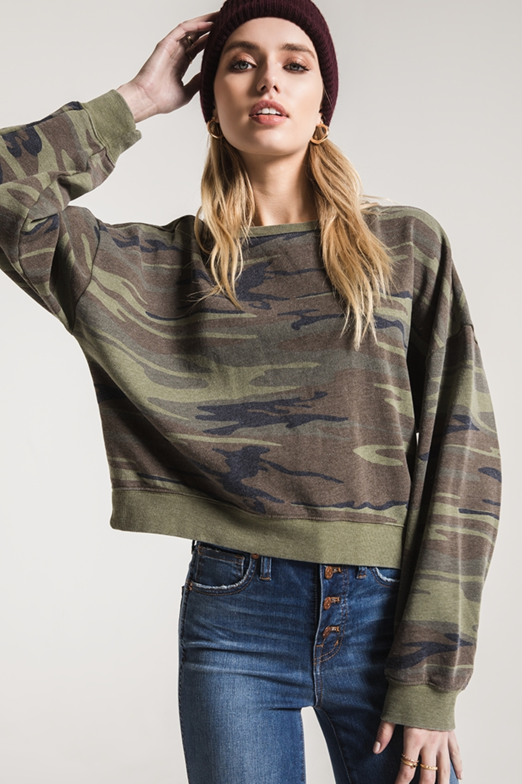 z supply Oversized Camo Fleece - Front Cropped Image